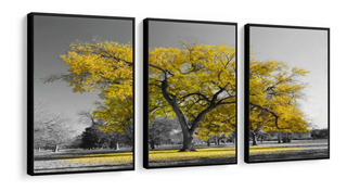 Quadro Decorativo Árvore Da Vida Amarela Moldura Lisa
