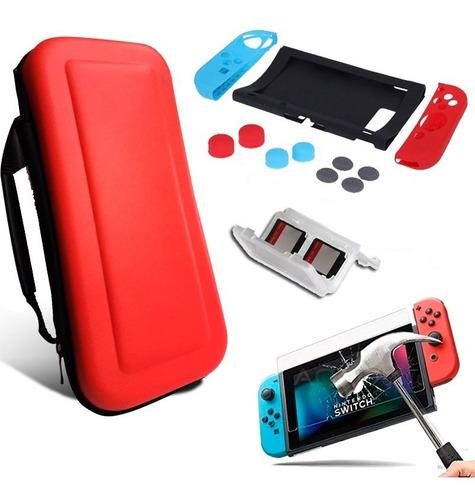 Estuche Case Nintendo Switch + Mica Cristal+ Caja + Bomper