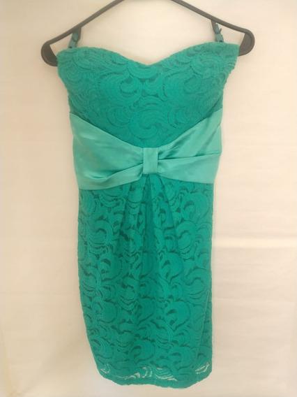 Vestido De Fiesta Al Cuerpo Verde Agua Con Encaje Talle L
