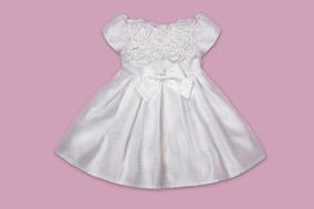 Vestido Petit Cherie Baby Branco Texturizado Com Renda