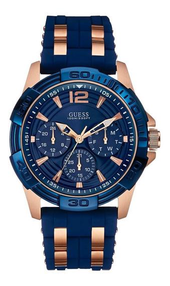 Reloj Guess Oasis W0366g4 Azul Oro Rosa Original D Caballero