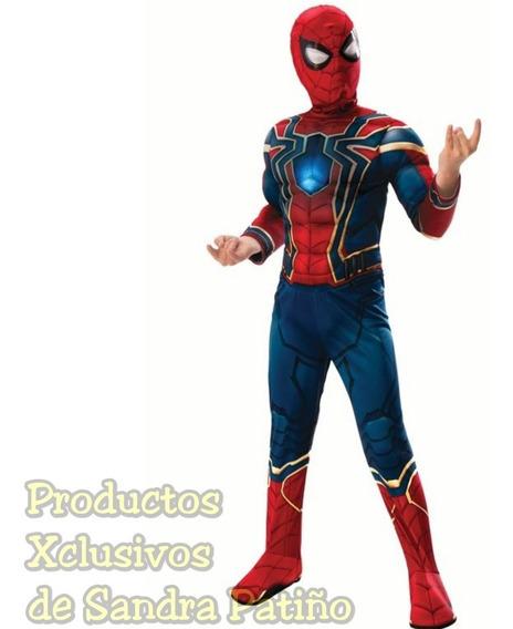 Disfraz Hombre Araña Spiderman C/luz Talla 10-12 Iron Spider