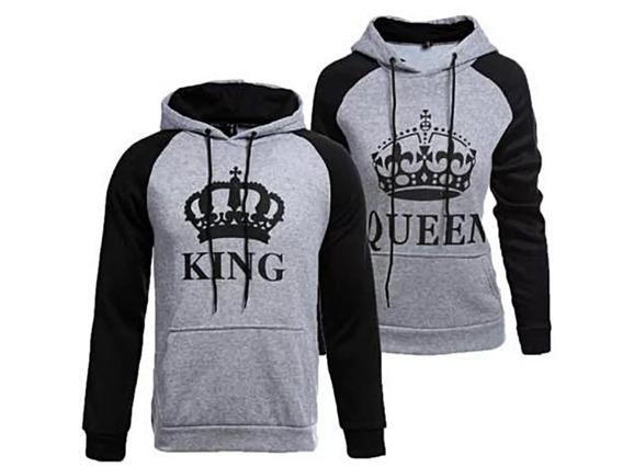 Kit 2 Moletom Raglan King Queen Casal Coroa Grande Casaco