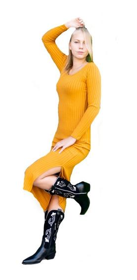 Vestido Largo Con Tajo Morley Talles Reales Para Mujer