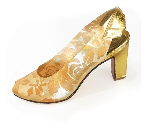 Zapatos Vintage Impecables Fiesta Noche Dorado Teatro N. 37