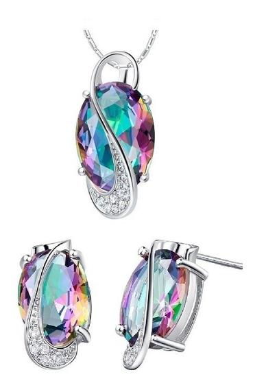 Aretes Dije Topacio Brillantes Ak Jewelry Plata 925 Oro 18k
