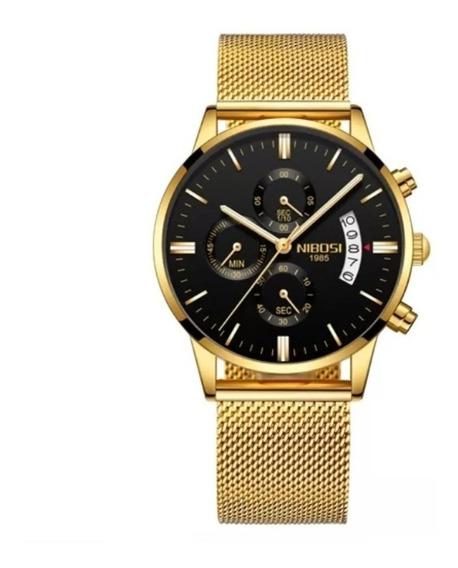 Relógio Masculino Militar Nibosi Ultra Dourado 100% Original Top