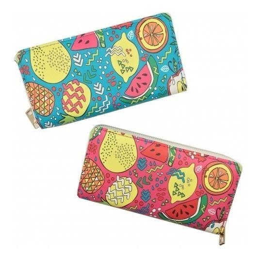 Billetera Diseño Frutas Verano Mujer Con Monedero Vintage