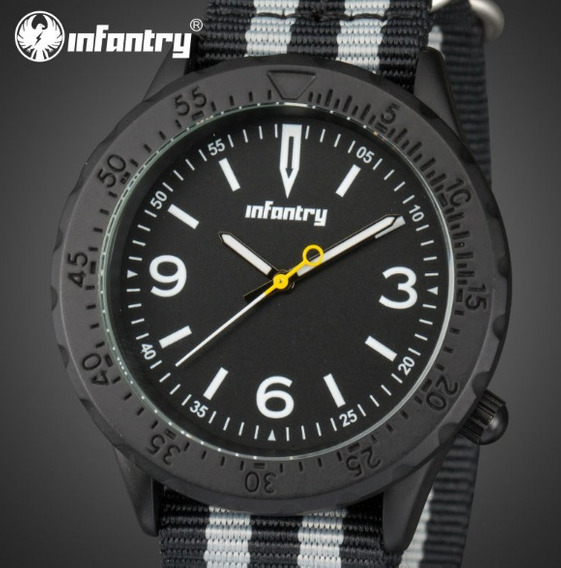 Relógio De Pulso Masculino Preto Infantry Modelo In-103-a