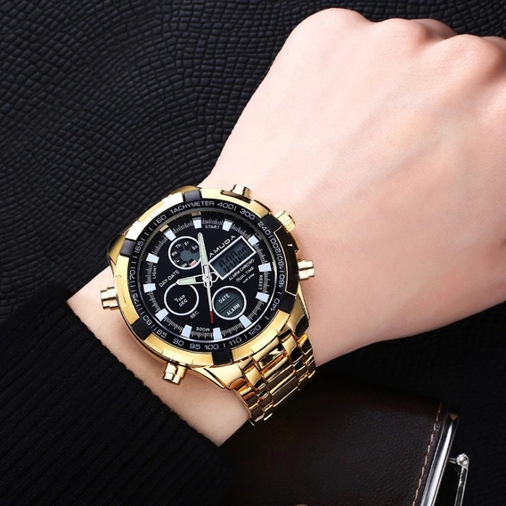 Amuda Mens Sport Relógio Led Ouro