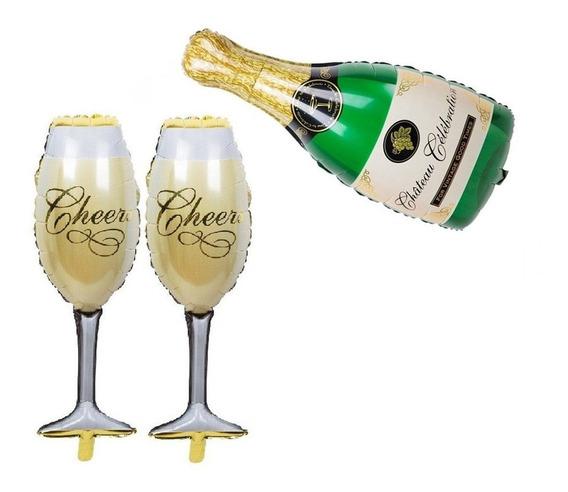 1 Globo Botella De Champagne + 2 Copas De Mano