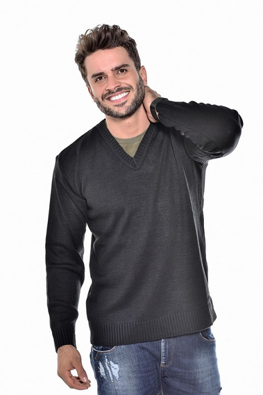 Blusa Sueter Masculina Lã Tricot Gola V Sueter Ref 126