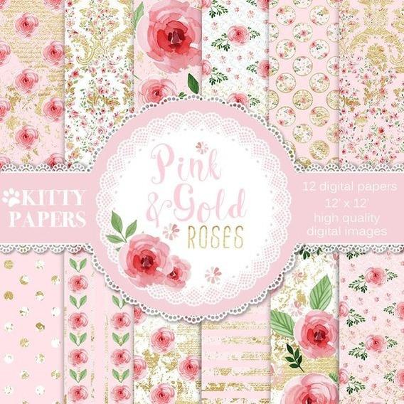 Kit Imprimible Fondos Papeles Digitals Flores Rosas Y Dorado
