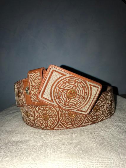 Autentico Cinturon Tejido Piteado Hilo De Plata