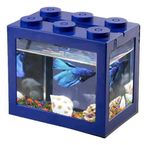 Imagen 1 de 9 de Mini Tanque De Peces Usb De Escritorio Led Acuario Kit Azul