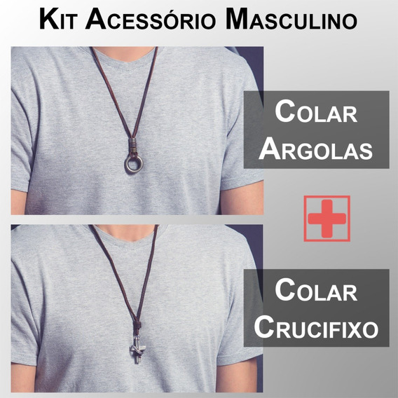 Kit Colar De Couro Masculino Colar De Argolas + Cruz Fé Mens