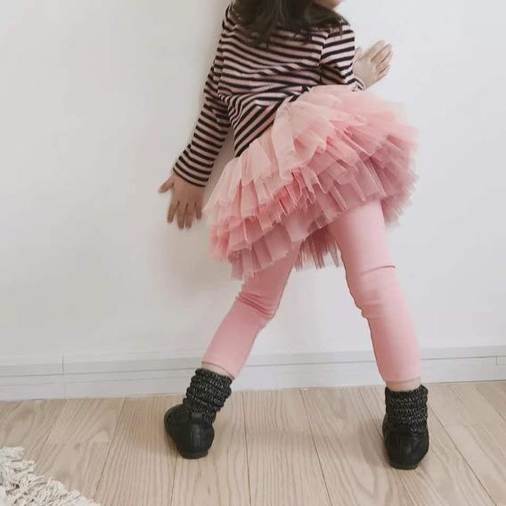 Calça Legging Infantil Bailarina Com Saia De Ballet Em Tule
