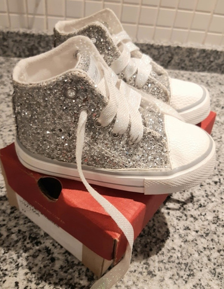 Zapatillas Plateadas Glitter Brillos Mimo Talle 22 Hermosas!
