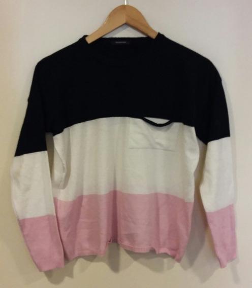 Suéter Negro Blanco Rosa Rayas Fuchsia Rain L Entrega Ya
