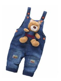 Macacão De Bebê Jeans Jardineira Ursinho 100% Algodão!!!