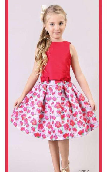 Conjunto Blusa Vermelha Saia Floral Bambollina