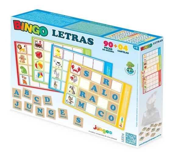 Jogo Educativo Bingo Letras Madeira 90 Peças Infantil Junges