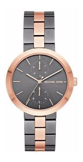 Relógio Michael Kors Mk6431 Cinza E Rosê Promoção Nf