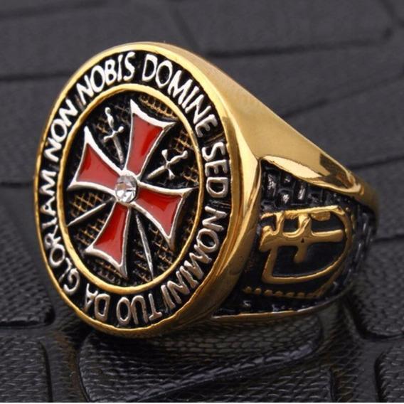 Anel Aço Inox 316l Ouro 18k Templario Cruz Malta Lxbr A32