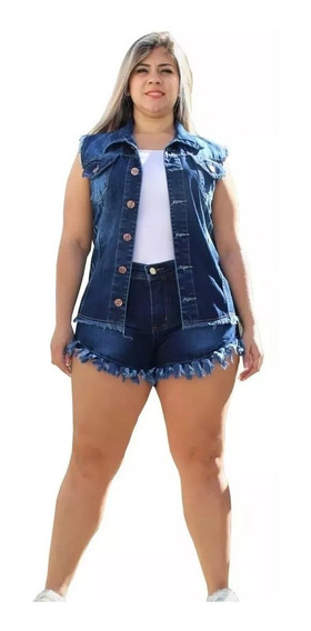 Conjunto Short Desfiado E Colete Feminino Jeans Plus Size