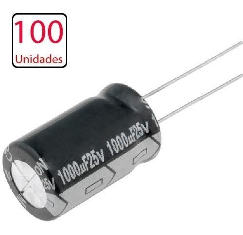 100 Capacitor Eletrolitico 1000uf X 25v * 1.000uf * 105ºc