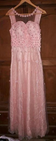Vestido Largo De Fiesta Rosa Con Apliques De Flores Y Stras