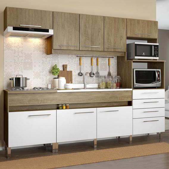 Cozinha Compacta 8 Portas 4 Gavetas Co780 - Decibal Móveis