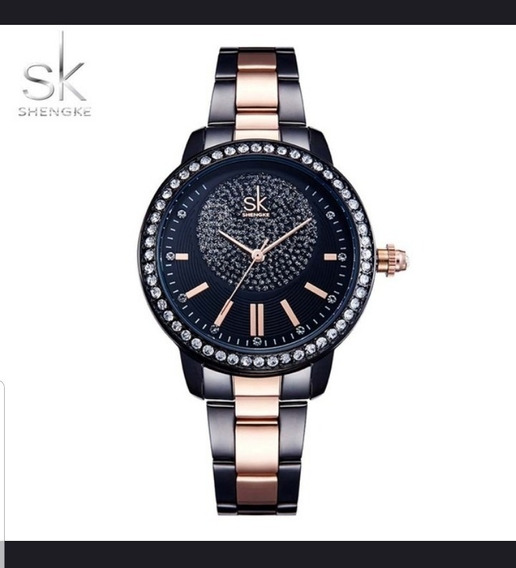 Relógio Luxo Quartz Sk Importado Feminino