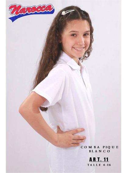 Chomba Pique Blanca Talle 10/16 Narocca 11 Packx2 Colegial