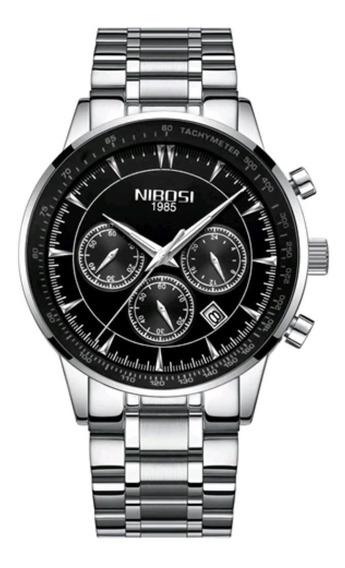 Relógio Masculino Nibosi 2357 Original Prata Com Preto