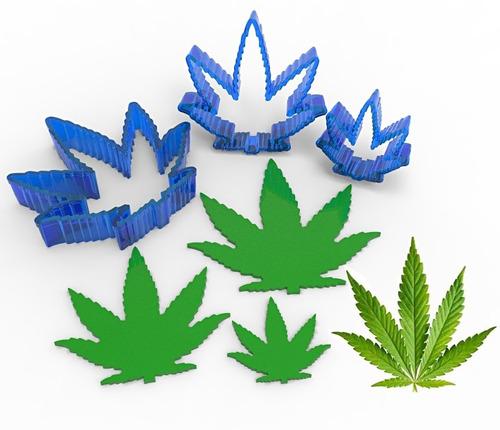 Set Cortantes Galletas O Fondant Hoja Cannabis Marihuana
