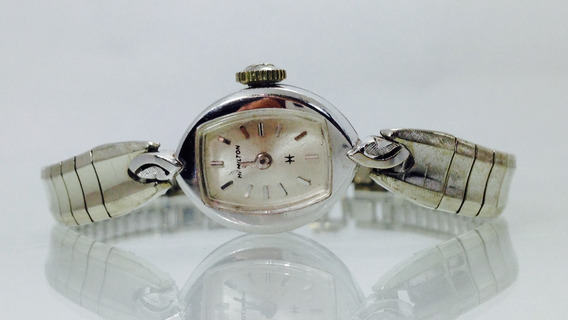 Reloj Hamilton Con Oro Blanco De 14k P/dama (inv 658)