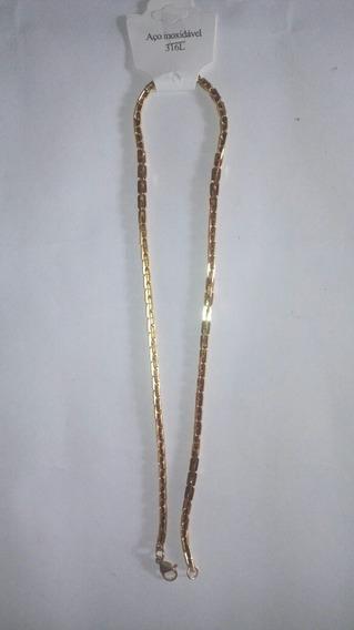 Cordao Masculino Elos Retangulares Dourado, Cod. 00072