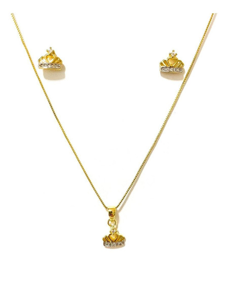 Conjunto Colar E Brinco Coroa Zircônia Banhado A Ouro