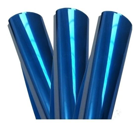 Película Filme Azul Espelhado Vidro Janela 1mx1,50m + Brinde