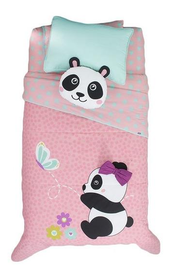 Juego Edredón Individual Panda Rosa Para Niña Vianney