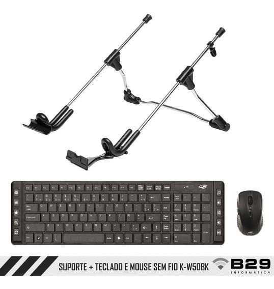 Suporte Notebook E Teclado E Mouse Wireless K-w50bk C3tech
