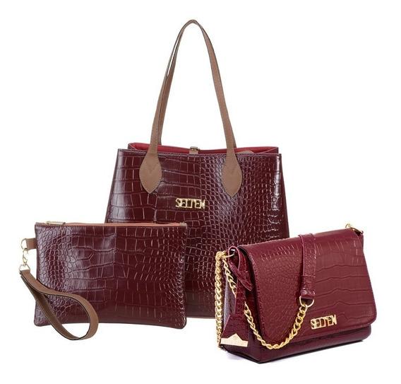 Bolsa Feminina Kit Com 3 Bolsas Grande Pequena E Necessaire