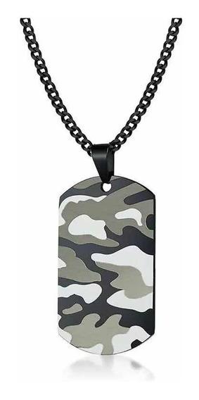 Collar Placa Identificación Dog Tag Militar Acero Hombre