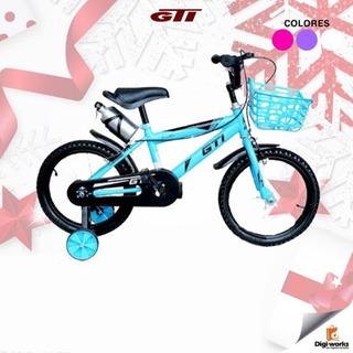 Gti Bicicleta Aro 16 Para Niña Con Canasta