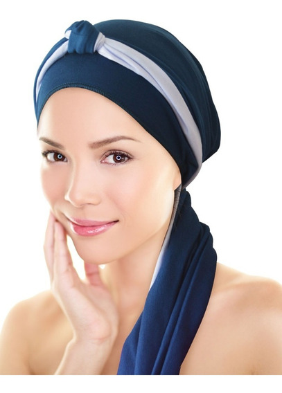 * Turbante Azul Petróleo+ Tiara Azul Petr Com Branco: Quimio