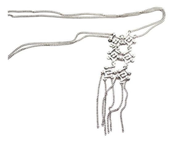 Cadena Oro Blanco Laminado 18k Collar Cadenita Doble Y Dije