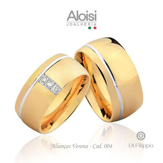 Par De Alianças De Casamento Verona Em Ouro Amarelo 18k