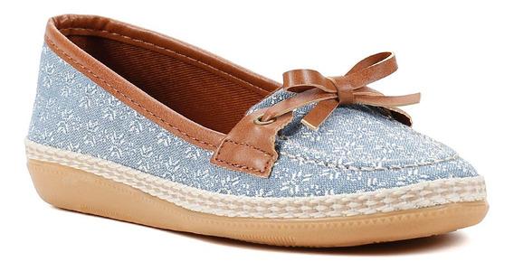 Sapatilha Infantil Para Menina - Azul/marrom