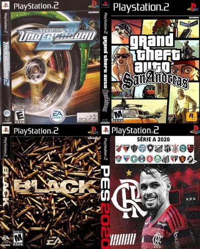 Gta San Andreas + Need For Speed + Pes 2020 +black Jogos Ps2